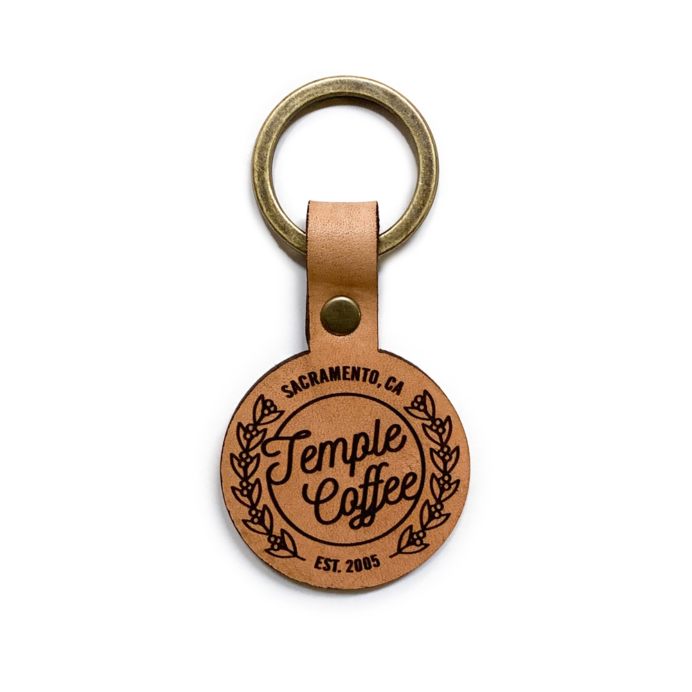 Temple Leather Keychain